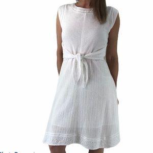 Cabi Lizzie dress eyelet tie waist white Fit Flare